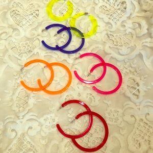 Jewelry - 5 pair of neon hoop earrings